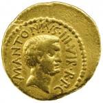 Aureus de Marc-Antoine frappé par P. Clodius en 43 av. J.-C. DR.