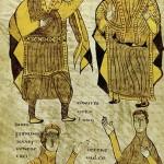 Cette enluminure, qui ouvre la loi des Alamans, représente divers dignitaires. Début IXe siècle.Paris, BnF, ms. lat. 4404 f. 197v.