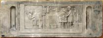 Intérieur d'une boucherie romaine sur un relief funéraire de Rome. Cliché Alessandro Vasari.