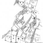 Essa de reconstitution d'habitations du Bronze Récent du secteur dénommé Ville Sud, Ras Shamra-Ougarit. Axonométrie O. Callot. © mission syro-franÇaise de Ras Shamra.