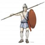 Dessin d'un hypaspiste. Infanterie légère des troupes d'élite de l'armée macédonienne. Dessin D. Glauser, @ Archéothéma