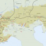 Carte générale des Alpes avec les principaux noms de lieux et de peuples cités dans le dossier Archéothéma n°12. © Archéothéma