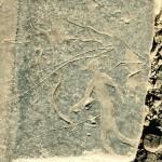 Bloc gravé montrant des antilopes surchargées par des personnages en mouvement.
