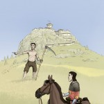 Peire Rogier de Mirepoix devisant avec un paysan au pied du pog de Montségur. @ Dessin D. Glauser.