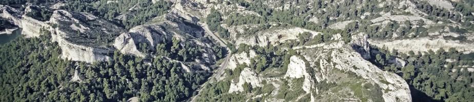 Vue aérienne de Glanum prise du sud. Au premier plan, le Mont Gaussier, acropole de l'oppidum salyen puis castrum au Moyen Âge. Photo Christian Hussy, SRA PACA.