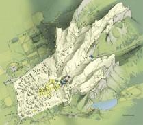 Vue restituée de la ville romaine vers 100 apr. J.-C. Dessin Fr. Brosse.