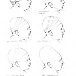 Esquisses de travail permettant  d'envisager la disposition des liens de contention chez le jeune enfant pour divers types de déformations crâniennes.  Dessins B. Gubler, Zurich.