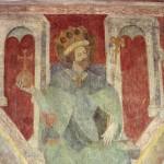 Sigismond, roi des Burgondes. Fresque peinte sur le mur de la nef de l'église de la Trinité à Constance (Allemagne). Entre 1417 et 1437. Cliché Wikimedia Commons, 2006.