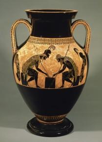 Ajax et Achille jouent au jeu des cinq lignes. Amphore attique à figures noires d'Exekias, c. 540-30 av. J.-C., Musei Vaticani (photo Musei Vaticani).