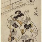 Okumura Masanobu (1686-1764) Portrait de la courtisane Ausaka, issu du recueil Genroku Tayû Awase Kagami (« Reflets des courtisanes de très haut rang de l'ère Genroku ») Epoque Edo, 1701 Couleurs posées au pinceau, tan-e Don Henri Vever, 1894 – EO 148 © DR. MNAAG, Musée national des arts asiatiques-Guimet.