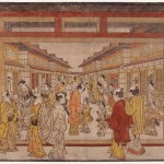 Tanaka Masunobu (attr. à) (act. 1741-1748) Uki-e : Vue en perspective de Nakanochô Epoque Edo, ère Enkyô (1744-1748) Beni-e, couleurs posées au pinceau Legs Raymond Koechlin, 1932 – EO 3388 © DR. MNAAG, Musée national des arts asiatiques-Guimet.