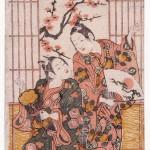 Ishikawa Toyonobu (1711-1785) Danse du nouvel An Manzai Epoque Edo, ères Kan'en (1748-1751)/ Horeki (1751-1764) Couleurs imprimées, benizuri-e Signature de l'auteur Cachet de l'éditeur Urokogataya - MA 1774 © DR. MNAAG, Musée national des arts asiatiques-Guimet.