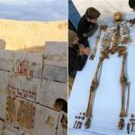 Restes de peintures de la tombe et squelette du pharaon Senbkey. © Ministère égyptien des Antiquités.