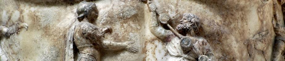 Auguste de Prima Porta, motif central de la cuirasse. Photo M. Tarpin, 2009.