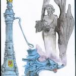 Les fontaines à eau sont un symbole à Szczecin, certaines sorties d'eau sont en forme de tête de griffon, l'emblème de la ville depuis les Griffin / Monument aux victimes de décembre 1970, date du premier soulèvement des syndicats polonais, qui a eu lieu à Szczecin 10 ans avant « Solidarność ». © A. Poirot.