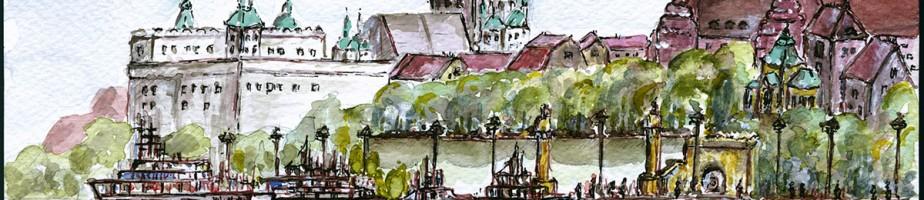 Vue sur les quais de l'Oder et les terrasses Wały Chrobrego. © A. Poirot.