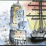 Sur les chantiers navals de Szczecin, 673 bateaux ont été construits entre 1952 et 2002 /  Le bâtiment ultra-moderne du plus grand armateur polonais : PŻM (Polska Żegluga Morska) / Le voilier d'école, Fryderyk Chopin, basé à Szczecin. © A. Poirot.