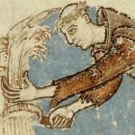 Un moine moissonnant. Enluminure du XIIe siècle. © Bibliothèque municipale de Dijon, ms 170, fol.75 v. Photo service de presse.