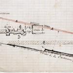 Plan du donjon et des substructions relevés par Alexandre Fournez en 1863 lors de travaux réalisés rue de la Caserne. La forme du donjon, rectangulaire, est caractéristique des constructions du début du XIe siècle.
