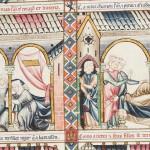 Scène de naissance dans une famille princière, Manuscrito de Las Cantigas de Santa Maria de Alfonso X, T.l.1, folio 131 (cantiga LXXXIX), Madrid, Bibl. de l'Escorial © patrimonio nacional. D.R.