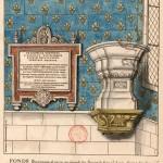 Les fonts baptismaux dans la collégiale de Poissy, aquarelle de Roger de Gaignères (1642-1715), BNF Estampes. © Bibliothèque nationale de France.