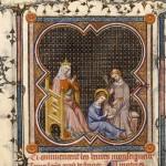 Louis apprenant à lire, Heures de Jeanne de Navarre, BNF manuscrits occidentaux, NAL 3145, f°85V, vers 1336 © Bibliothèque nationale de France.