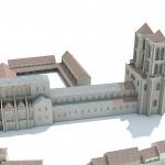 Restitution hypothétique de la basilique carolingienne. © Ministère de la Culture et de la Communication, Mission de la Recherche et de la Technologie