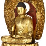 Le Buddha Amida assis (Amida Butsu zazō 阿彌陀佛坐像) Japon XVIIIe siècle. Bois. H. 100 cm. Don Edmond Rochette, 1938. MEG Inv. ETHAS 015608