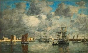 Eugène BOUDIN, Port de Camaret, 1872, huile sur toile, Paris, Musée d'Orsay, dépôt du musée des Beaux-Arts d'Angers. © Benoît Touchard, Musée des Beaux-Arts d'Angers. Photo service de presse.
