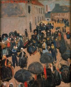 Robert DELAUNAY, La Fête au pays, 1905, huile sur toile, Rennes, Musée des Beaux-Arts, dépôt du Musée Goya de Castres. © Adélaïde Beaudoin, Musée des Beaux-Arts de Rennes. Photo service de presse.