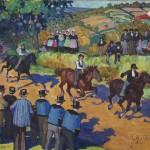 Jeanne-Marie BARBEY, La Course à Gourin, vers 1929, huile sur toile, La Cohue, Musée des Beaux-Arts, Vannes. © O. Caijo, Musée de Vannes. Photo service de presse.