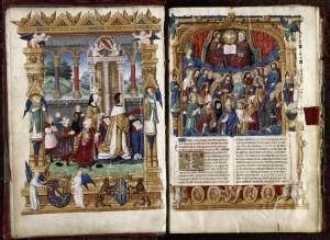 Frontispice d'un manuscrit de la Vie de Ludolphe de Saxe, destiné à Philippe de Gueldre. Vers 1506-1508. Enluminure sur parchemin (35,5 × 24,5 cm). Bibliothèque municipale de la Ville de Lyon. F. © IHRT Wikimedia Commons.