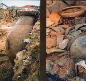 Dolium (à gauche), grand vase de stockage d'une capacité de 1000 litres), installé dans une des boutiques de la place (Ier s. apr. J.-C.), et contenu d'une étagère effondrée (à droite) sur le sol d'une boutique (Ier s. apr. J.-C.). Photo Flore Giraut © Archeodunum.