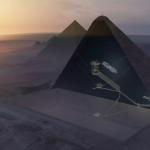 """Vue aérienne 3D de la Grande Pyramide de Gizeh, montrant les chambres dites """"du Roi"""" et """"de la Reine"""", la Grande Galerie, la chambre souterraine inachevée, ainsi que la cavité nouvellement détectée par les ingénieurs du projet """"ScanPyramids"""". © ScanPyramids mission"""". DR."""