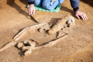 Theißen. Tombe d'une jeune femme blessée à la poitrine. © ZB. DR.