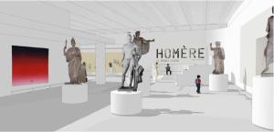 Entrée de l'exposition : une assemblée des dieux de l'Olympe accueille le visiteur © Martin Michel.
