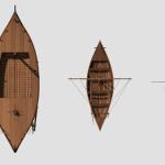 Vue du dessus de la reconstitution 3D des trois types bateaux retrouvés à Fiumicino : barque de pêche (à droite), petit voilier (au centre) et allège fluviomaritime (à gauche). © D. Peloso, Ipso Facto scoop. Marseille/P. Poveda, Centre Camille Jullian, CNRS, Aix Marseille Université.
