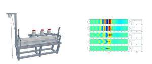Vue du dispositif expérimental (à gauche) et exemple de  calculs mathématiques (à droite).  En utilisant des cuves plus larges qu'habituellement, les scientifiques ont montré que le  confinement latéral imposé par les dispositifs expérimentaux trop étroits, ou par les ports et  les écluses, exacerbe les oscillations dynamiques des bateaux ©Pprime (CNRS) & LMA (CNRS/Université de Poitiers). Image service de presse.