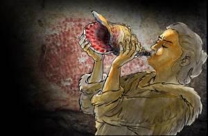 Reconstitution du jeu de l'instrument. En fond : bison ponctué ornant les parois de la grotte de Marsoulas. Des motifs similaires décorent l'instrument. © Carole Fritz et al. 2021 / illustration Gilles Tosello. Image service de presse.