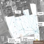 Fig. 1 - Plan général des vestiges sur vue aérienne (fond © Google Earth).