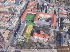 L'Hôtel-Dieu et les zones archéologiques vus du ciel. En jaune, la fouille en cours. (Google Earth et Archeodunum).