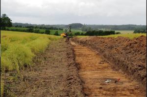 Les fouilles d'archéologie préventives sur l'île de Fionie, au Danemark, se concentrent depuis un an sur le tracé d'un futur gazoduc. Odense Bys Museer. DR.