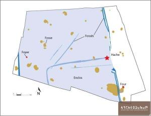 Oudalle. Plan général des vestiges. © Archeodunum.