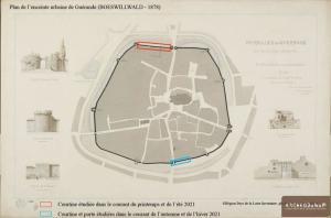 Plan de l'enceinte urbaine de Guérande (BOESWILLWALD - 1878). © Archeodunum SAS.