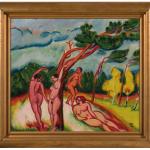 Nus dans un paysage, ou Paysage, Max Pechstein, huile sur toile, 1912, 71x80 cm. Photo © Musée des  Beaux-Arts de Nancy / Jean-Yves Lacôte. Photo service de presse.