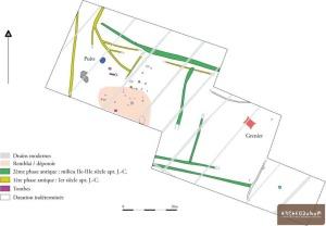 Plan général des vestiges. © Archeodunum SAS.