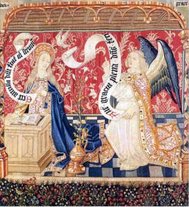 Tapisseries de la Vie de la Vierge, Coll é giale Notre - Dame  de Beaune (d é tail  - L'Annonciation)  © Direction de la Culture et du M é c é na