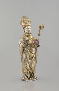 Statuette - reliquaire d'un  é v ê que Mons, orf è vre   Jacques de Stritem, vers 1467  à 1502